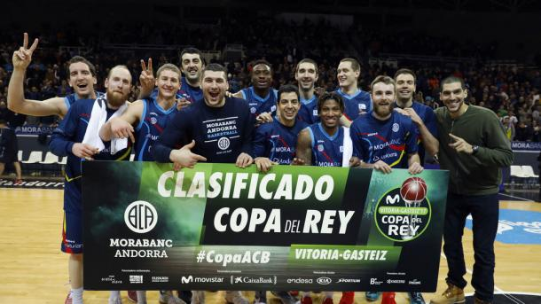 El Andorra celebra su clasificación (ACB Photo9
