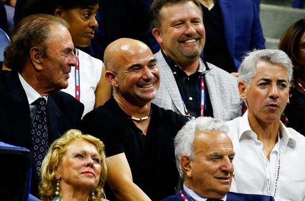 Agassi (center) in attendance at the 2015 U.S. Open (Photo: Al Bello/Getty Images North America)