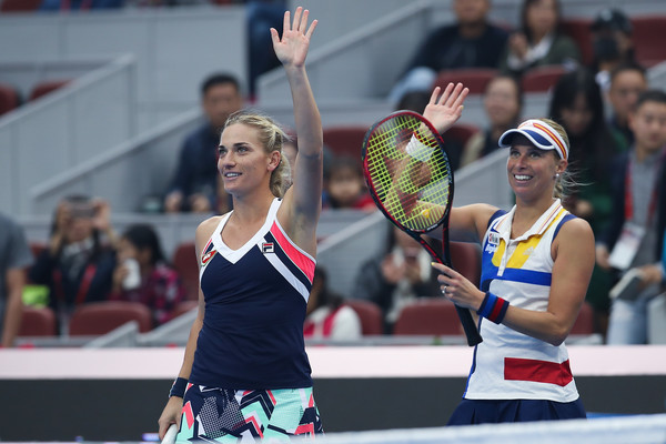 Babos and Hlavackova celebrate their excellent win over Makarova and Vesnina in Beijing | Photo: Lintao Zhang/Getty Images AsiaPac