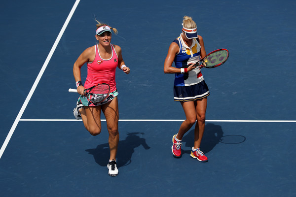 Babos and Hlavackova in action at the US Open, where they fell in the quarterfinals | Photo: Elsa/Getty Images North America
