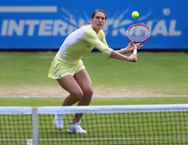 Andrea Petkovic hits a volley at the Aegon International. Photo: Steve Bardens/Getty Images