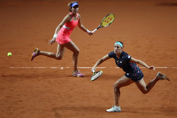 Klepac and Martinez Sanchez in action at the Porsche Tennis Grand Prix, where they reached the last four | Photo: Alex Grimm/Getty Images Europe