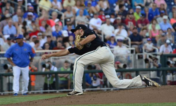 Andrew Beckwith pitches a complete game in Coastal Carolina's 2-1 victory over Florida Gators in 2016 College World Series | Photo Courtesy: Coastal Carolina Athletics