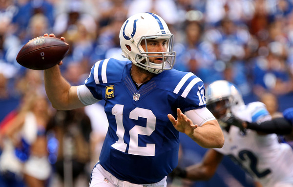 Indianapolis Colts quarterback Andrew Luck (#12) passed for 384 yards and four touchdowns versus Detroit Lions in week 1.  Photo:  Getty Images