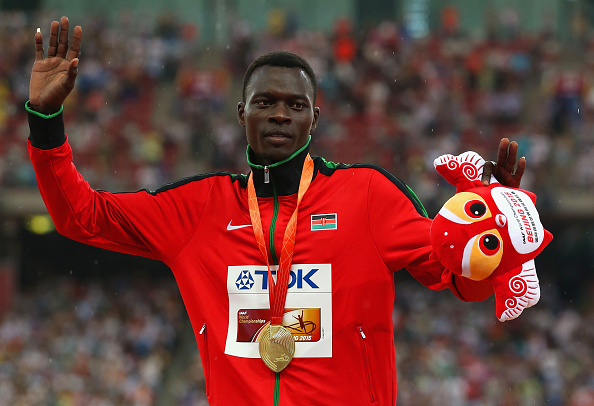 Nicholas Bett receives his Gold medal at the 2015 World Championships (Getty/Andy Lyons)