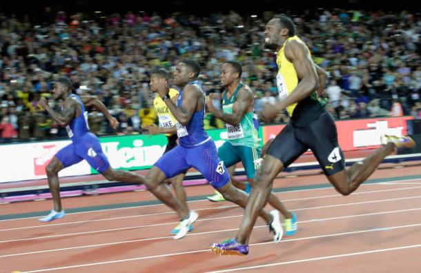 The final stages of the race, with Gatlin just edging past Coleman and Bolt (Getty/Andy Lyons)