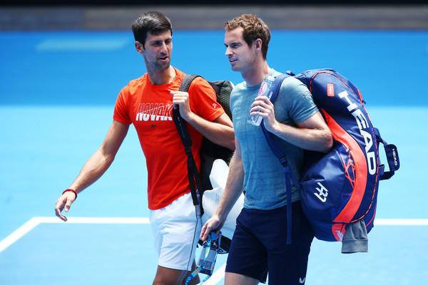 Djokovic and Murray converse before last week's practice session, in which Djokovic won 6-1, 4-1 (Image source: Getty Images AsiaPac)