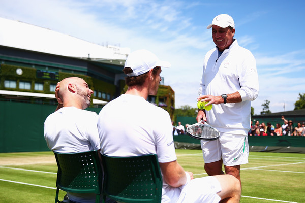Delgado, Murray and Lendl at Wimbledon this year (Photo by Jordan Mansfield/Getty Images)