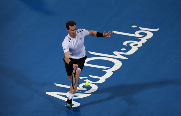 Murray in action at the Mubadala World Tennis Championship (Photo by Francois Nel/Getty Images)