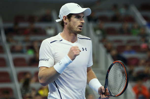 Murray celebrates a point (Photo by Emmanuel Wong/Getty Images)
