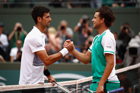 Novak Djokovic congratulates Dominic Thiem (Photo: Adam Pretty/Getty Images)