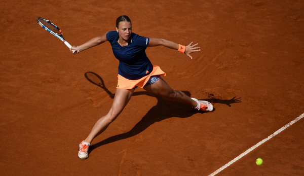 Anett Kontaveit in action during her massive upset over Angelique Kerber in straight sets | Photo: Gareth Copley/Getty Images Europe