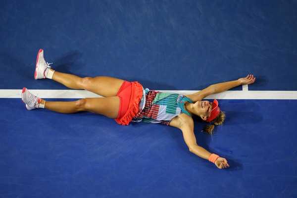 Angelique Kerber reacts to winning the title. Cameron Spencer/Getty Images