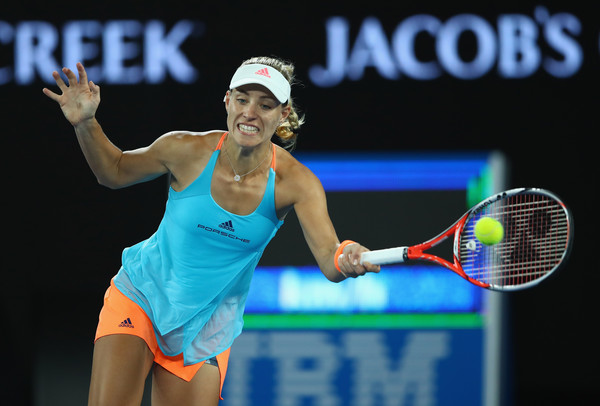 Angelique Kerber hits a forehand at the Australian Open, where she was the defending champion but fell in the fourth round | Photo: Clive Brunskill/Getty Images AsiaPac