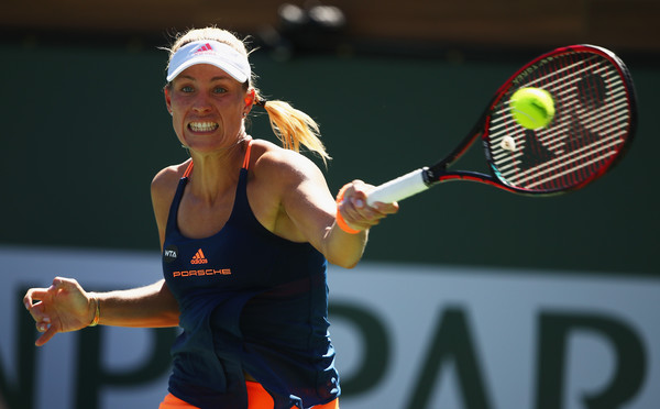 Angelique Kerber seen in action at the BNP Paribas Open, where she fell to eventual champion Elena Vesnina | Photo: Clive Brunskill/Getty Images North America