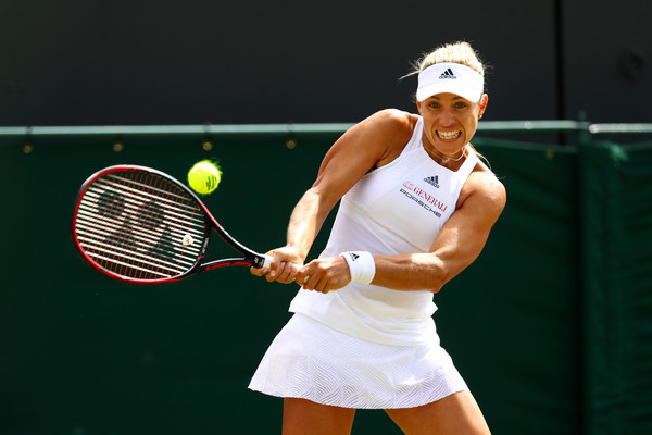 Angelique Kerber in action during today's match | Photo: Michael Steele/Getty Images Europe