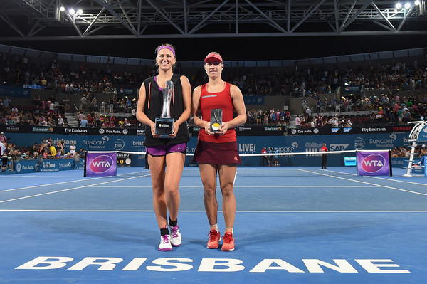 Azarenka and Kerber in Brisbane. Photo: Matt Roberts/Getty Images