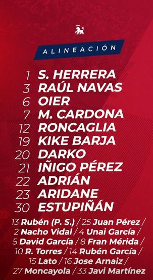 Alineación titular Osasuna. Fuente: Instagram C.A. Osasuna