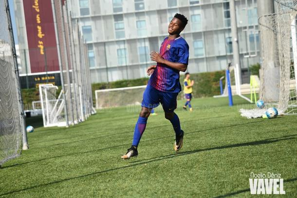 Ansu Fati celebrando un gol en la Ciutat Esportiva. Foto: Noelia Déniz, VAVEL