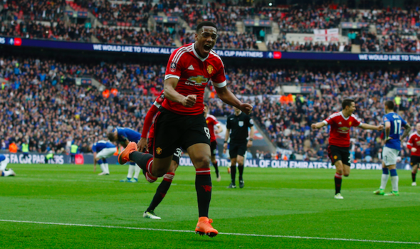 Martial celebrates his winner in the FA Cup semi-final against Everton | Photo: Getty