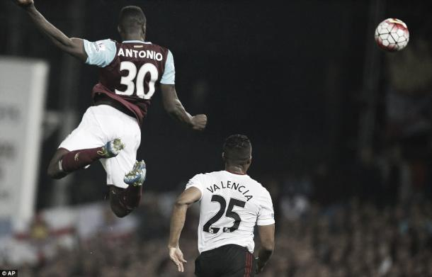 Above: Michail Antonio scoring in West Ham United's 3-2 win over Manchester United | Photo: AP