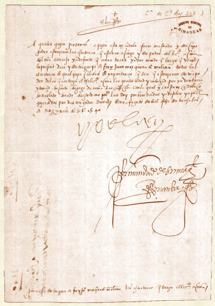 Carta fundacional del Archivo de Simancas: Cédula dada por Carlos I en la que se ordena el traslado de documentos desde la Chancillería de Valladolid al castillo de Simancas, datada el 16 de septiembre de 1540, en Bruselas. (PD).