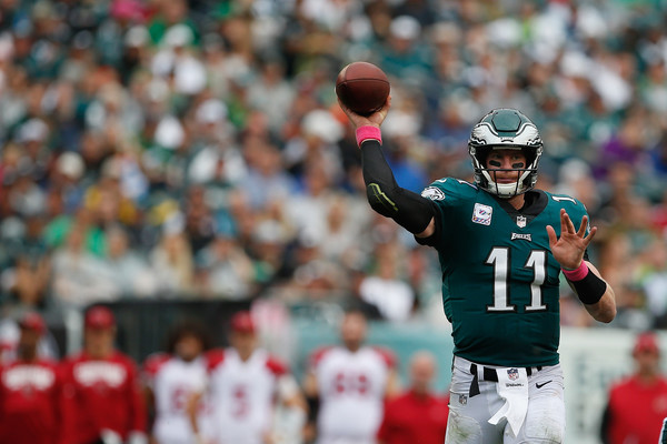 Quarterback Carson Wentz #11 of the Philadelphia Eagles throws a pass against the Arizona Cardinals. |Source: Rich Schultz/Getty Images North America|