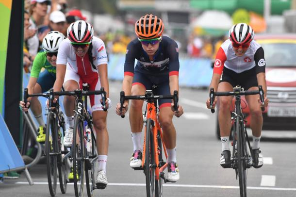 Armitstead rolls across the line in fifth place yesterday / Cycling Weekly