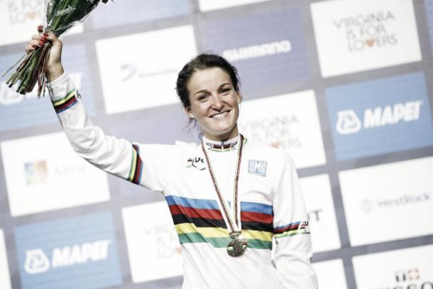 Armitstead awarded the respected rainbow World Champion jersey in 2015 | Credit: cyclingweekly
