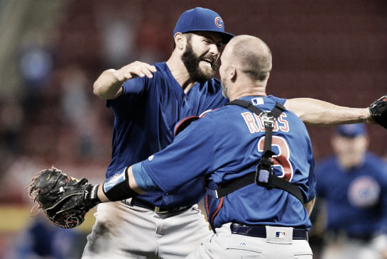 Jake Arrieta celebrates with David Ross after throwing his second career no-hitter on Saturday April 23, 206 (AP)