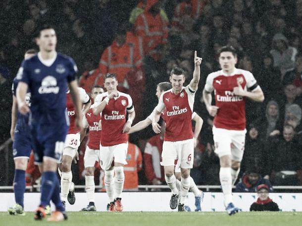 Arsenal celebrate a win over Everton earlier this season. Photo: Sportsmole