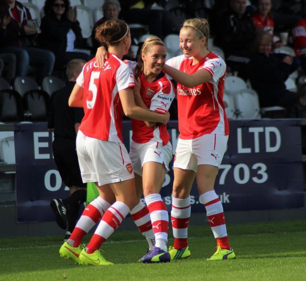 Jordan Nobbs celebrates with her Arsenal team-mates. (Image source: joshjdss - Flickr)