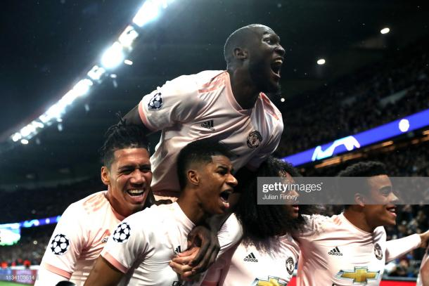 El United celebra la remontada en el Parque de los Príncipes / Foto: Getty images