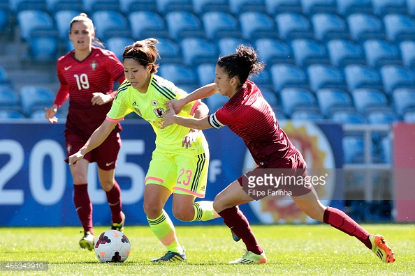 Claudia neto, pictured here ina  game last year against Japan, scored a hat-trick against Finland to keep her Portugal side in contention for the last qualifying places
