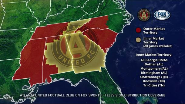 Atlanta United's TV deal will show them in most of the Southeast of the United States   Source: Atlanta United Website