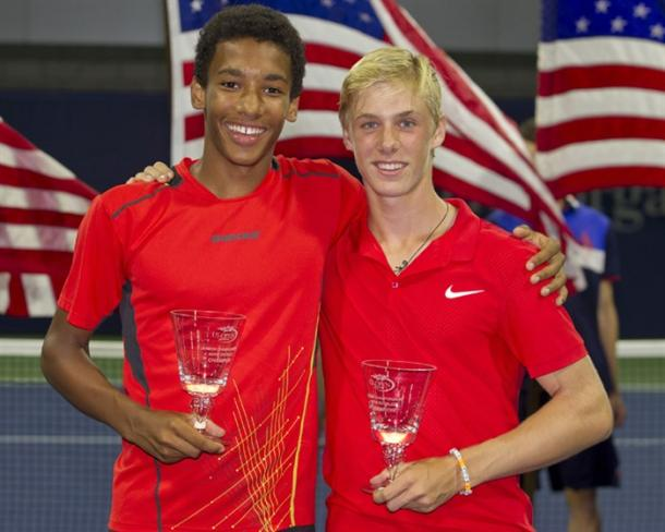 Auger-Aliassime (left) with Denis Shapovalov at the 2015 US Open. Photo: ITF