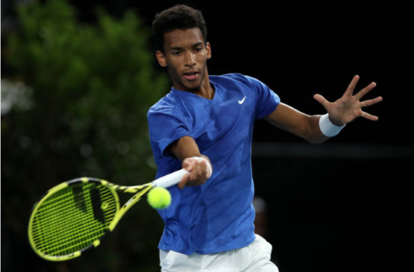 Auger-Aliassime in action in Adelaide/Photo: Paul Kane/Getty Images