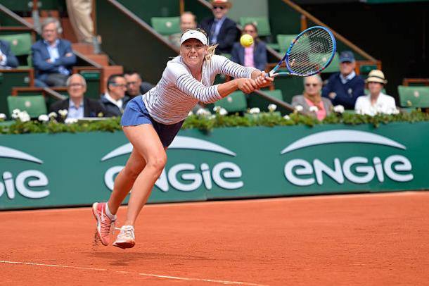 Maria Sharapova in action during the 2015 French Open, the last time she played at the tournament (Getty/Aurelien Meunier)