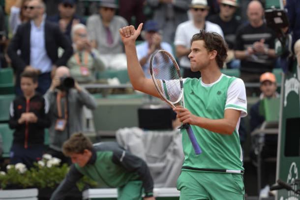 Dominic Thiem celebrates after his impressive quarterfinal victory over Novak Djokovic (Getty/Aurelien Meunier)