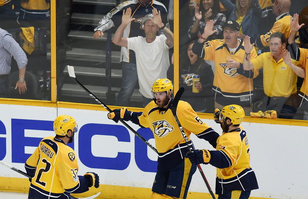 Watson celebrates after scoring on Nashville's first shot of the game/Photo: Sanford Myers/Getty Images