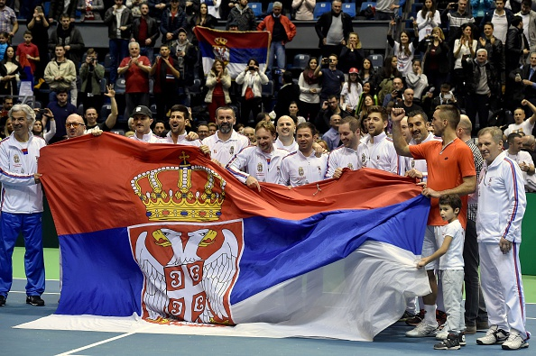 Serbian team after defeating Kazakhstan in five rubbers (Photo:Andrej Isakovic/Getty Images)