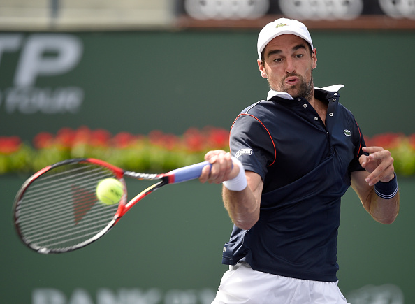 Jeremy Chardy hits a forehand as he loses to Donald Young during the BNP Parisbas Open (Photo:Harry How/Getty Images)