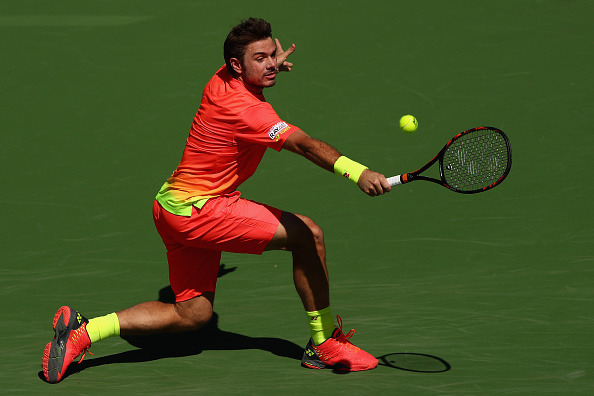 Stan Wawrinka in action against David Goffin during day ten of the BNP Paribas Open at Indian Wells (Photo:Julian Finney/Getty Images)