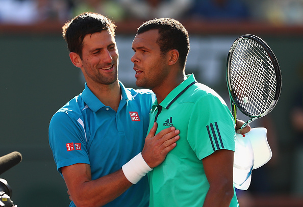 Novak Djokovic  is congratulated by Jo-Wilfried Tsonga after his straight sets win (Photo:Julian Finney/Getty Images)
