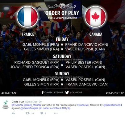 Order Of Play for the weekend (Phoito:DavisCup)