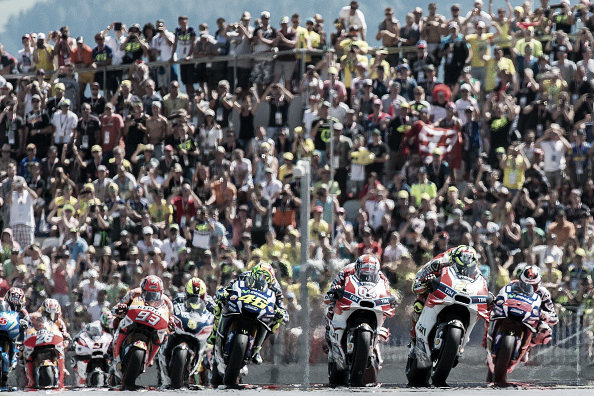 The Ducati's stormed away into the front group | Photo: Joe Klamar/APF/Getty Images
