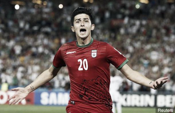 La estrella iraní, Azmoun, celebrando uno de sus goles con la selección. / Foto: ffiri.ir