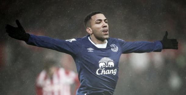 Aaron Lennon celebrates his goal against Stoke City. Photo: Liverpool Echo