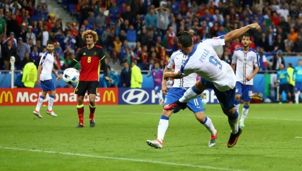 Pellè remata de volea en el momento del 0-2 | Foto: UEFA