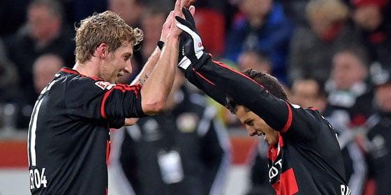 The goalscorers celebrate. (Image credit: kicker)